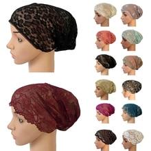 Women Muslim Elastic Lace Bandage Hat Muslim Inner Caps Islamic Indian Turban Cancer Headwear Underscarf Hats Middle East