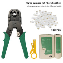 4 in 1 Ethernet Network LAN Kit Cable Connectors Crimper Tool Network Cable Tester Detector Wire Stripper+Connector Plug Netw(China)