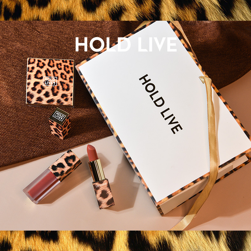 3Pcs/ Set Leopard Fixed Makeup Powder Mouth Red Lip Glaze Three Piece Set Student Gift Box Set Valentines Gift