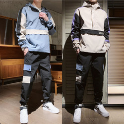 Mannen Trainingspak Herfst/winter Man tweedelige Set Zweet Pak Polyester Overalls Koreaanse Leisure Suit Plus Size hoodies/harlan Broek