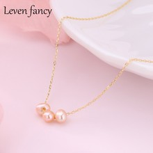 Three Natural Freshwater Pink Pearl Necklace Chain 925 Sterling Silver Simple Sliding Beads Design Personalized Fashion Jewelry(China)