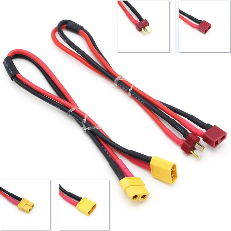Female Deans XT60/<font><b>T</b></font> <font><b>plug</b></font> to Male XT60/<font><b>T</b></font> Connector Adapter 14AWG 30MM Extension Cable Leads Adapte For RC Lipo Battery image