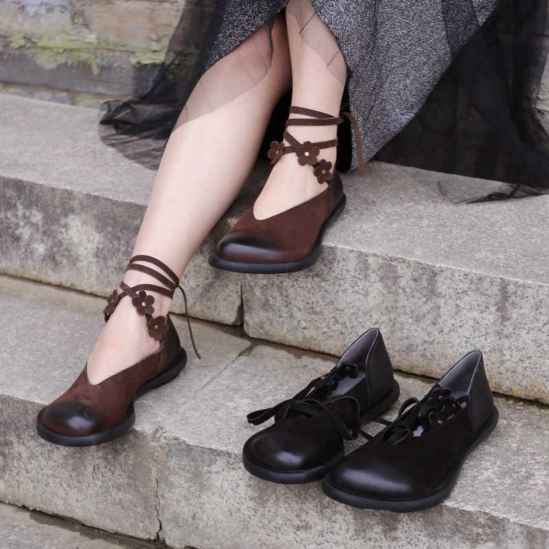 Vrouwen Lederen Pumps Lage Hakken Lente Schoenen 2019 Bloem Retro Stijl Lace Up Vrouwen Pompen Echt Leer Meisjes Schoen Handgemaakte merk