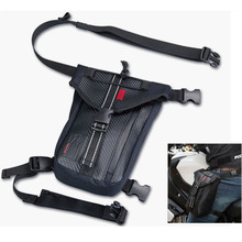 KOMINE Black Motorcycle Drop Leg Bags Waterproof leather Outdoor Casual Waist Motorbike Bag New