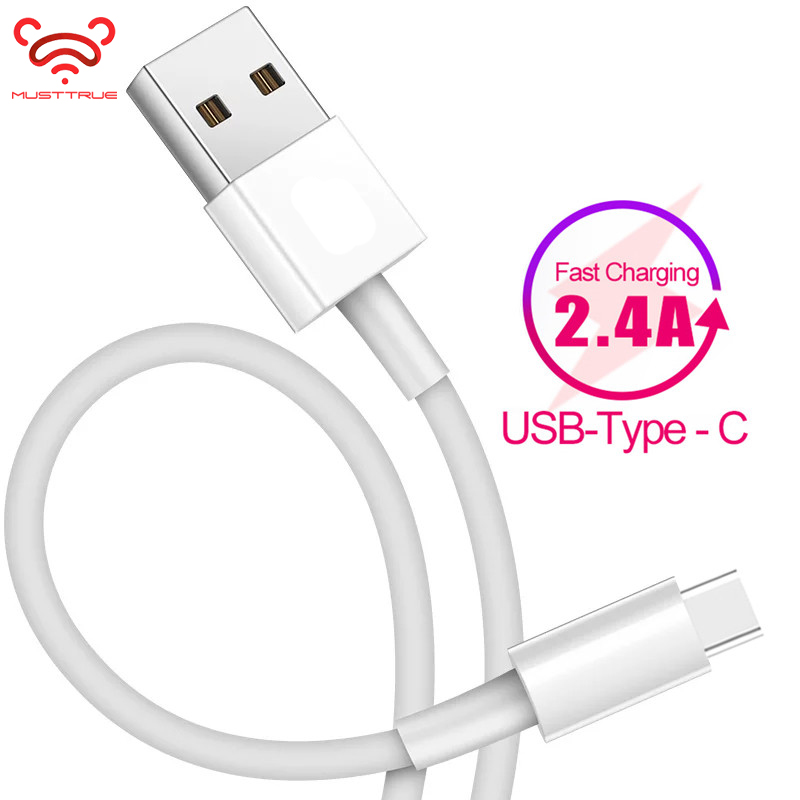 MUSTTRUE USB Type C Cable 2.4A Fast Charging Huawei P20 P30 LG Xiaomi Data Sync Charger