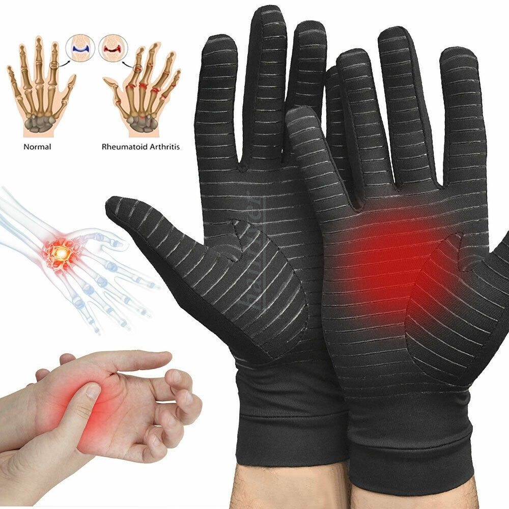 Copper fiber full knuckle pain relief health care compression gloves wrist support for both men and women