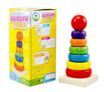 Wooden Rainbow Tower Xx01 Bricks Pro-Stack Learning Zone Toys Towel Ring Wood Building Blocks Mongolian Early Education Toy