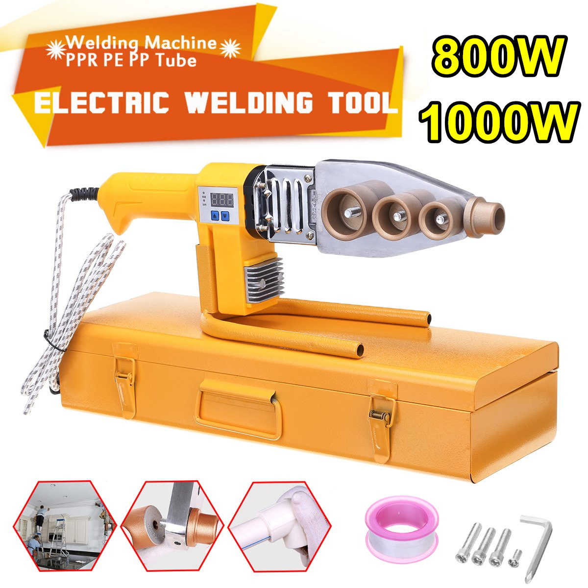 Electric Pipe Welding Machine Heating Tool Heads Set For PPR PB PE Plastic Tube PPR Welding Hot Melt Machine Temperature Control