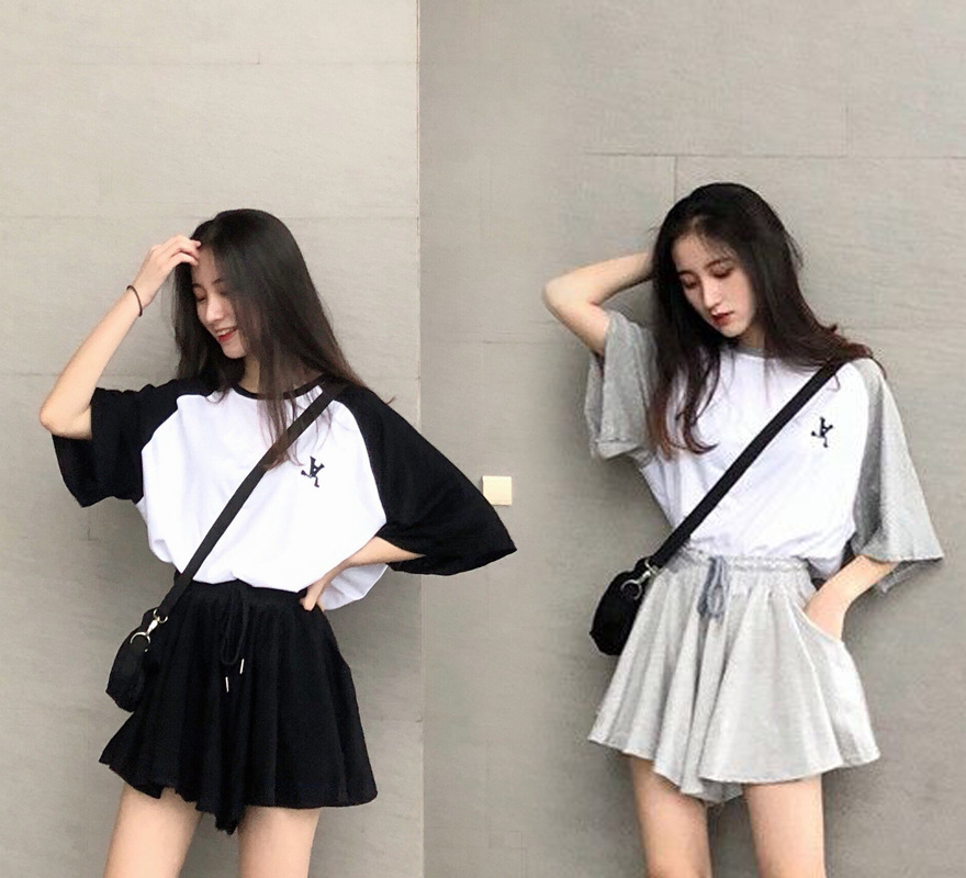 Fashion WOMEN'S Suit Summer 2019 New Style Korean-style Short Tops + Irregular High-waisted Loose Pants Culottes Two-Piece Set