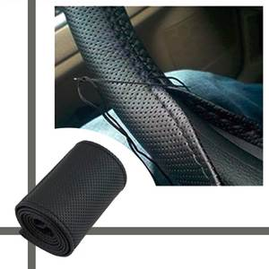 Steering-Wheel-Cover Car 36-38cm Entire Microfiber Braid-On Single-Connector The Car-Styling
