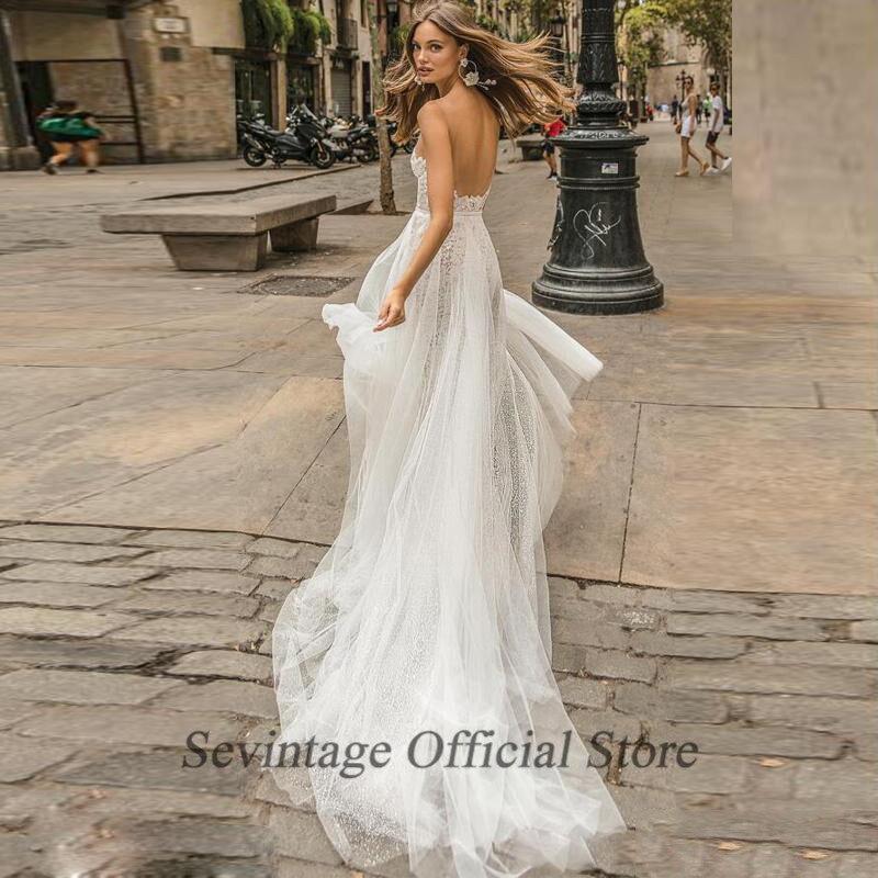 Sevintage Sheer V Neck Nude Tull Wedding Dresses Full Lace Mermaid Beach Bridal Gowns Detachable Train Vestidos De Noiva