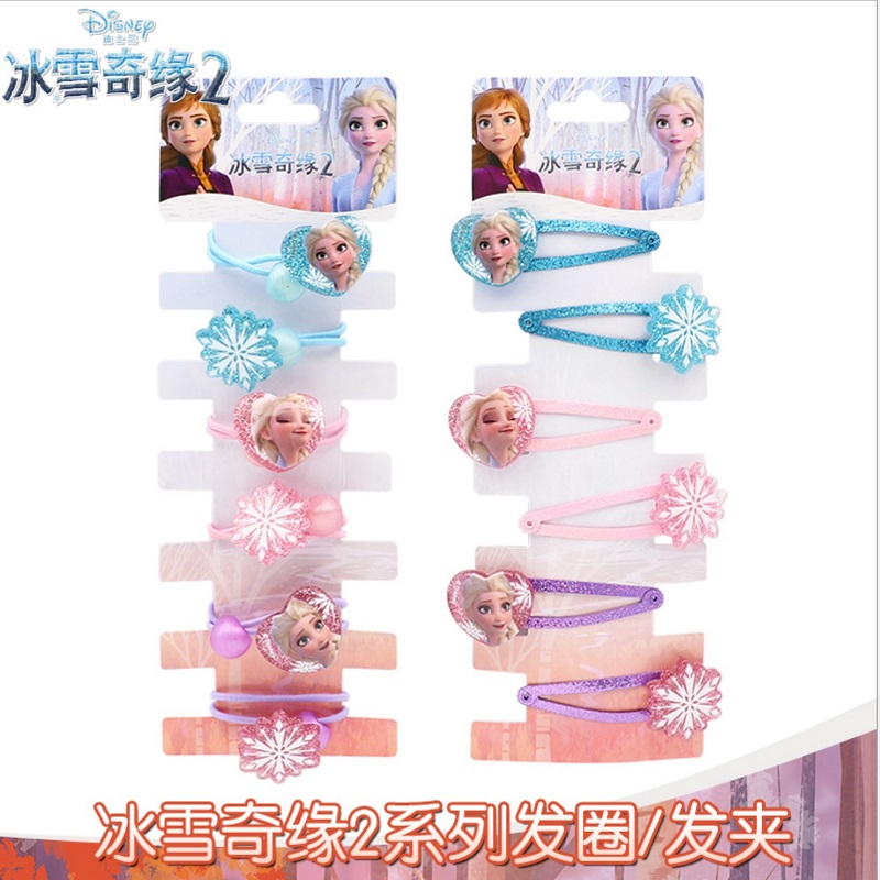 Disney New Hair Accessories Frozen 2 Cartoon Children Hair Clips 6pcs Little Girl Elsa Princess Girl Hair Cord For Kids Cosplay
