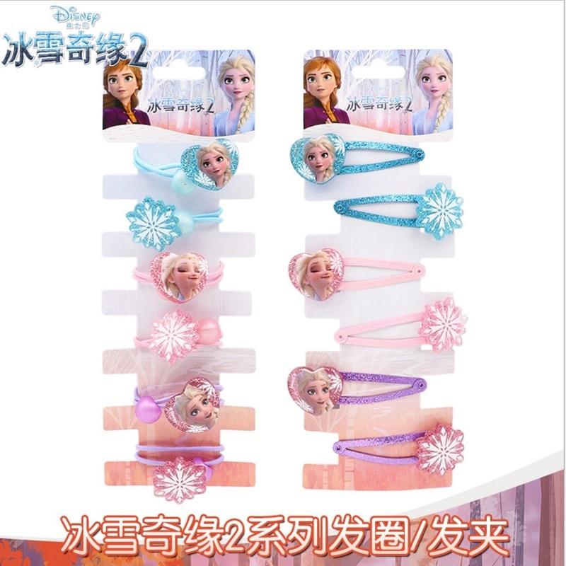 Disney New Hair Accessories Frozen 2 Cartoon Children Hair Clips 6pcs Little Girl Elsa Princess Girl Hair Cord For Kids Cosplay
