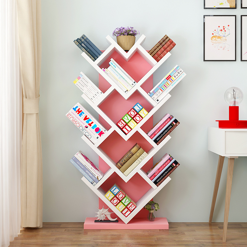 Simple Tree-shaped Bookshelves Placed On The Ground Simple Creative Student Bookshelves Creative Heart-shaped Bookshelves