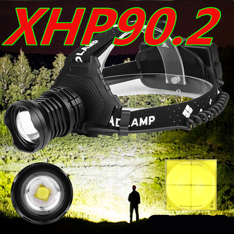 Powerful 8000LM XHP90.2 LED Headlamp USB Rechargeable Headlight Waterproof Zoomable Power Bank Fishing Light Using 18650 Battery