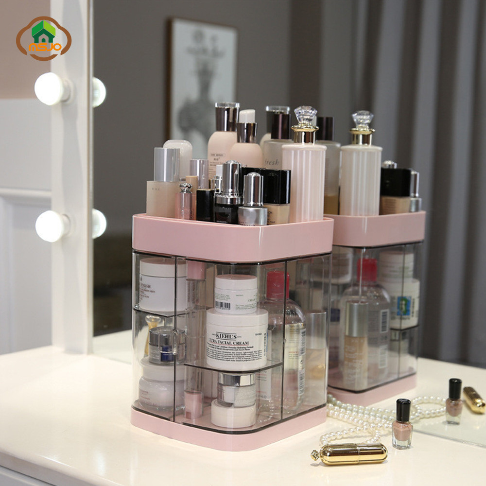 MSJO Makeup Organizer Box Storage Dustproof 360 Transparent Makeup Organizer For Desk Cosmetics Organizador Bathroom Storage Box