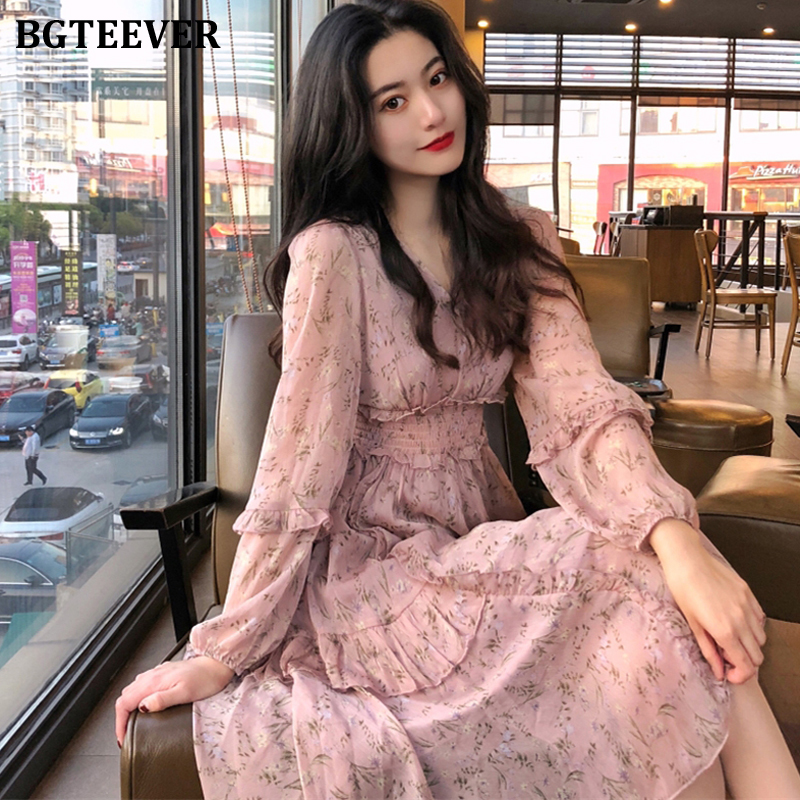 BGTEEVER Elegant V-neck Flower Print Women Chiffon Dress Elastic Waist Irregular Hem Women Dress Ruffles Vestidos Femme 2020