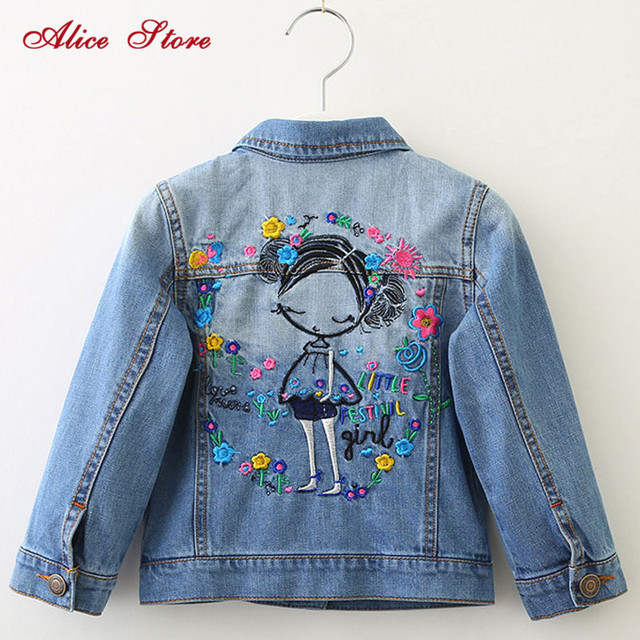 childrens jacket 2019 spring and autumn new girls fashion denim jacket girls flower embroidery long sleeved lapel jacket