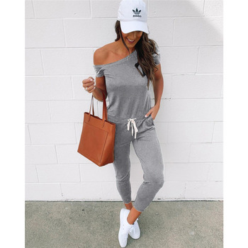 цена на 2020 Sexy Cold Shoulder Jumpsuit Summer Overalls Fashion Female Short Sleeve Drawstring Romeper Cotton Long Trousers Rz*