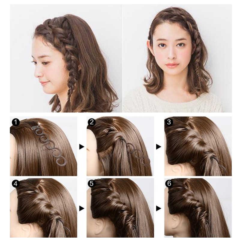2/4 adet siyah bayan fransız ev kullanımı örgü saç peruk aracı örgü Braider saç kenar büküm şekillendirici aracı DIY aksesuarları toptan sıcak