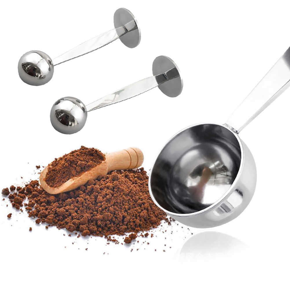 Hot 2 in 1 สแตนเลสสตีลกาแฟ Tamper ช้อนตักด้วยขาตั้งกาแฟ Bean ช้อนชา Coffeeware ห้องครัว gadg