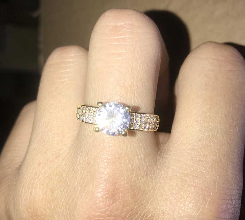 YANHUI Mit 18K Stempel 4 Klaue 2 Karat Zirkonia Hochzeit/Verlobung Ringe Für Frauen 18K Gold farbe frauen Ring Edlen Schmuck