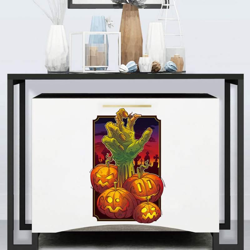 Наклейки на тему Хэллоуина стикер для холодильника Тыква призрак ручная Наклейка на стену гостиная художественное оформление стены в спал... - 3