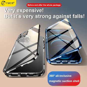 Absorpcja magnetyczna dwustronny szklany pokrowiec na iPhone 11 12 Pro Max Mini XS XR XSMAX 7 8 Plus telefon 360 ° pełna ochrona tanie i dobre opinie APPLE CN (pochodzenie) Double-sided glass Zwykły przezroczyste Magnetic phone case