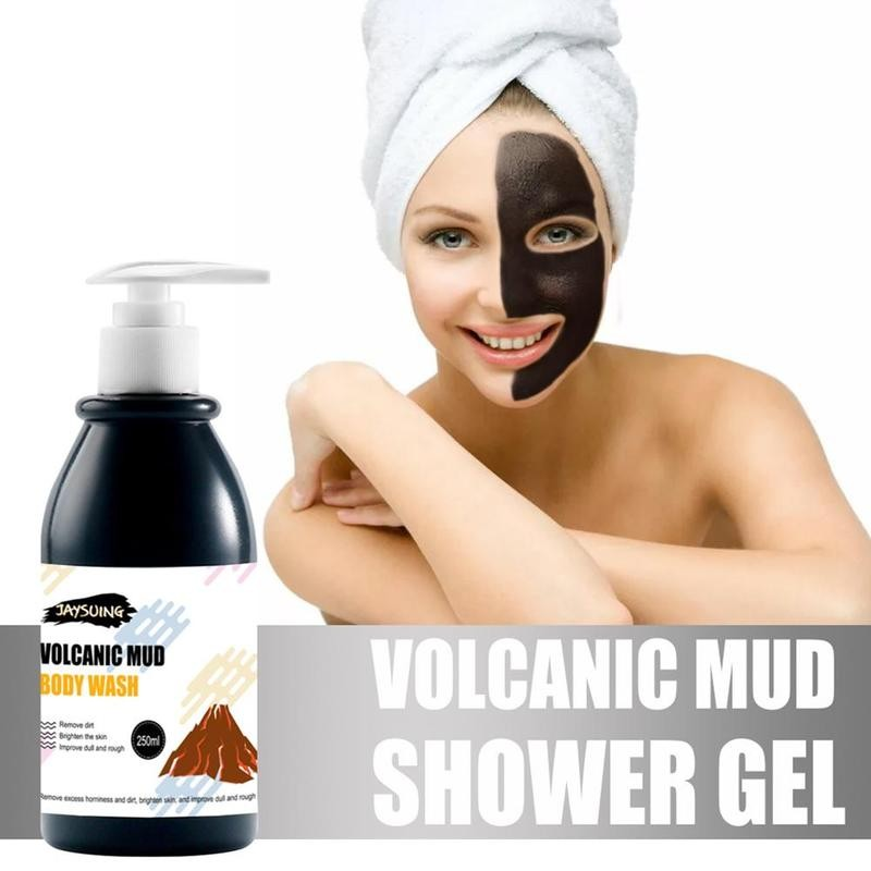Volcanic Mud Shower Gel Whole Body Wash Fast Whitening Deep Clean Skin Moisturizing Exfoliating Body Skin Care