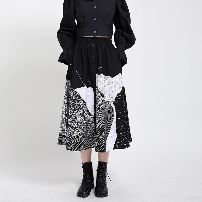 Юбка Палаццо женская с широкими штанинами, трапециевидная юбка с принтом в стиле Харадзюку, уличная одежда в японском стиле, готические брюки, юбка Одежда Азии и островов Тихого океана    АлиЭкспресс