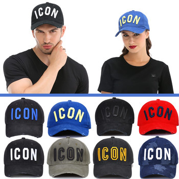 DSQICOND2 Wholesale Cotton Baseball Caps ICON Letters High Quality Cap Men Women Customer Design Hat Trucker Snapback Dad Hats