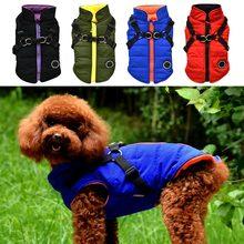 Imperméable à l'eau chien chiot gilet avec harnais veste Chihuahua vêtements chaud hiver chien vêtements manteau pour petits moyens grands chiens