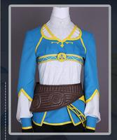 The Legend of Zelda Princess Cosplay Breath of the Wild Zelda Costume Halloween Gloves pricess Apron belt