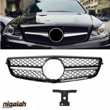 Racing Grills fits for Mercedes-benz C Class W204 2008-2014 C180 C200 C250 C300 C350 Front Bumper Grille Mesh Upgrade AMG Style
