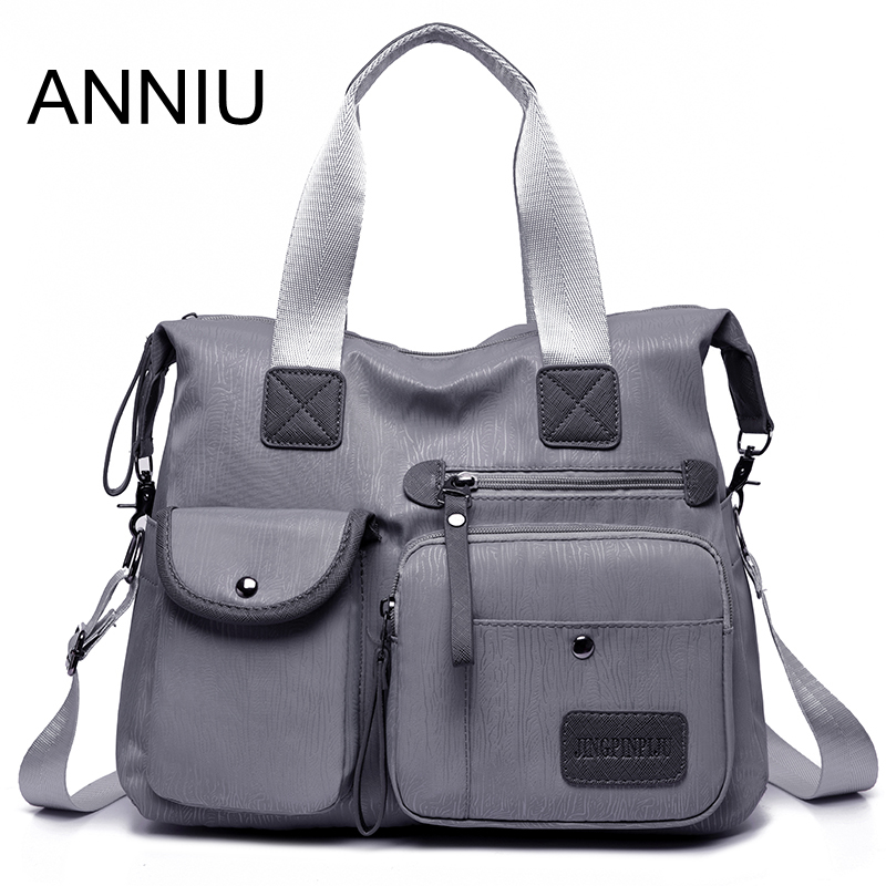 ANNIU New Large Capacity Women Bag Multi-pocket Brushed Pattern Female Shoulder Bag High Density Oxford Waterproof Crossbody Bag
