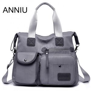 ANNIU New Large capacity Women bag Multi-pocket brushed pattern Female Shoulder bag High density oxford waterproof crossbody bag