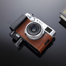 Fujifilm X100v Fujiสีน้ำตาลของแท้กล้องหนังครึ่งโลหะGripจานDovetail