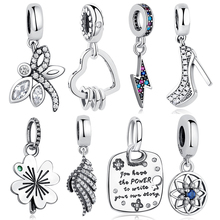 Fit Original Pandora Charm Bracelet 925 Sterling Silver Bead High Heels Shoes Clear CZ Crystal European Charms Bead DIY Jewelry