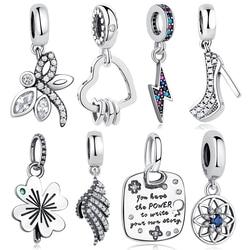 Fit Original Pandora Charm Bracelet 925 Sterling Silver Bead High Heels Shoes Clear CZ Crystal European Charms Bead DIY Jewelry