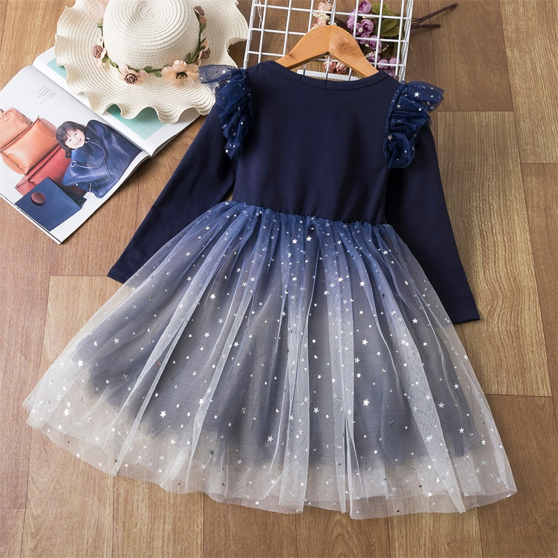 Girls Christmas Costume Lace Princess Dress Kids Long Sleeve Autumn Winter Clothing Children New Year Birthday Party Red Gown 8Y 2