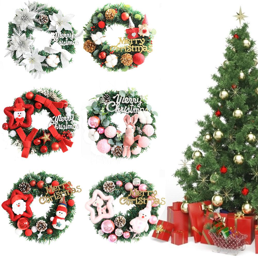 Christmas Wreaths Artificial Garland Christmas Wreath Green Wreath Decorative Garland With A Red Bowknot For Party Home Decor