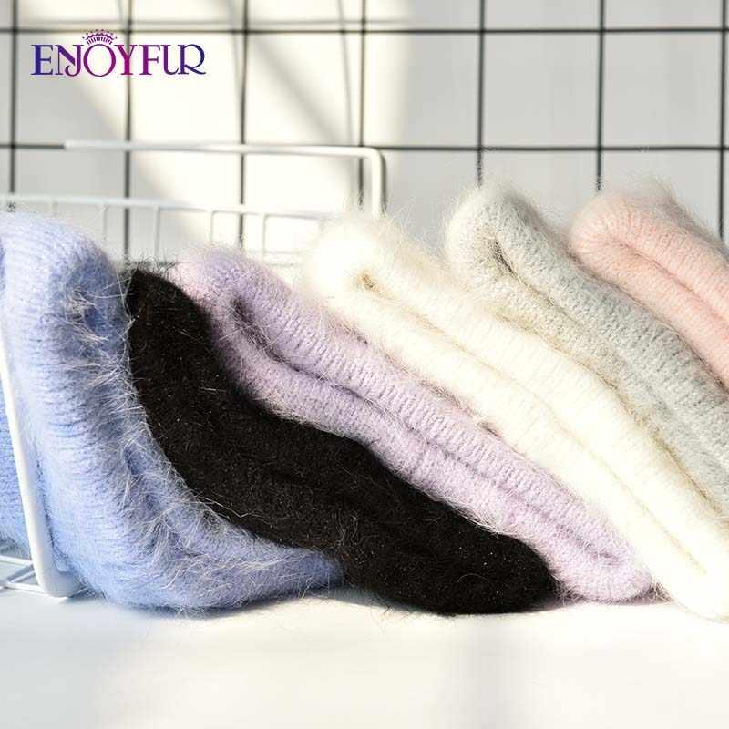 ENJOYFUR หมวกฤดูหนาวสำหรับผู้หญิงยาวกระต่ายขนสัตว์หมวกผู้หญิงแฟชั่นสีทึบกว้างหนุ่มสไตล์ beanies