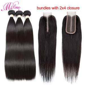 Image 2 - 2x4 Closure And Bundles Peruvian Hair Bundles With Closure Straight Kim K Human Hair Bundles With Closure Non Remy Hair Mslove