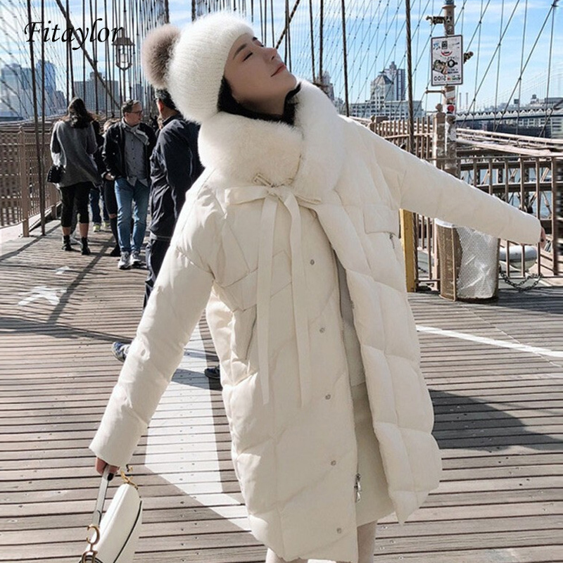 Fitaylor 2019 Large Real Natural Fox Fur Collar Long Down Coat Winter Jacket Women Duck Down Parkas Female Thick Snow Outerwear