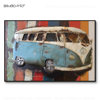 Pure Hand-painted Modern Wall Art Bus Car Oil Painting on Canvas Handmade Canvas Painting Big Bus Car Oil Painting for Wall Art