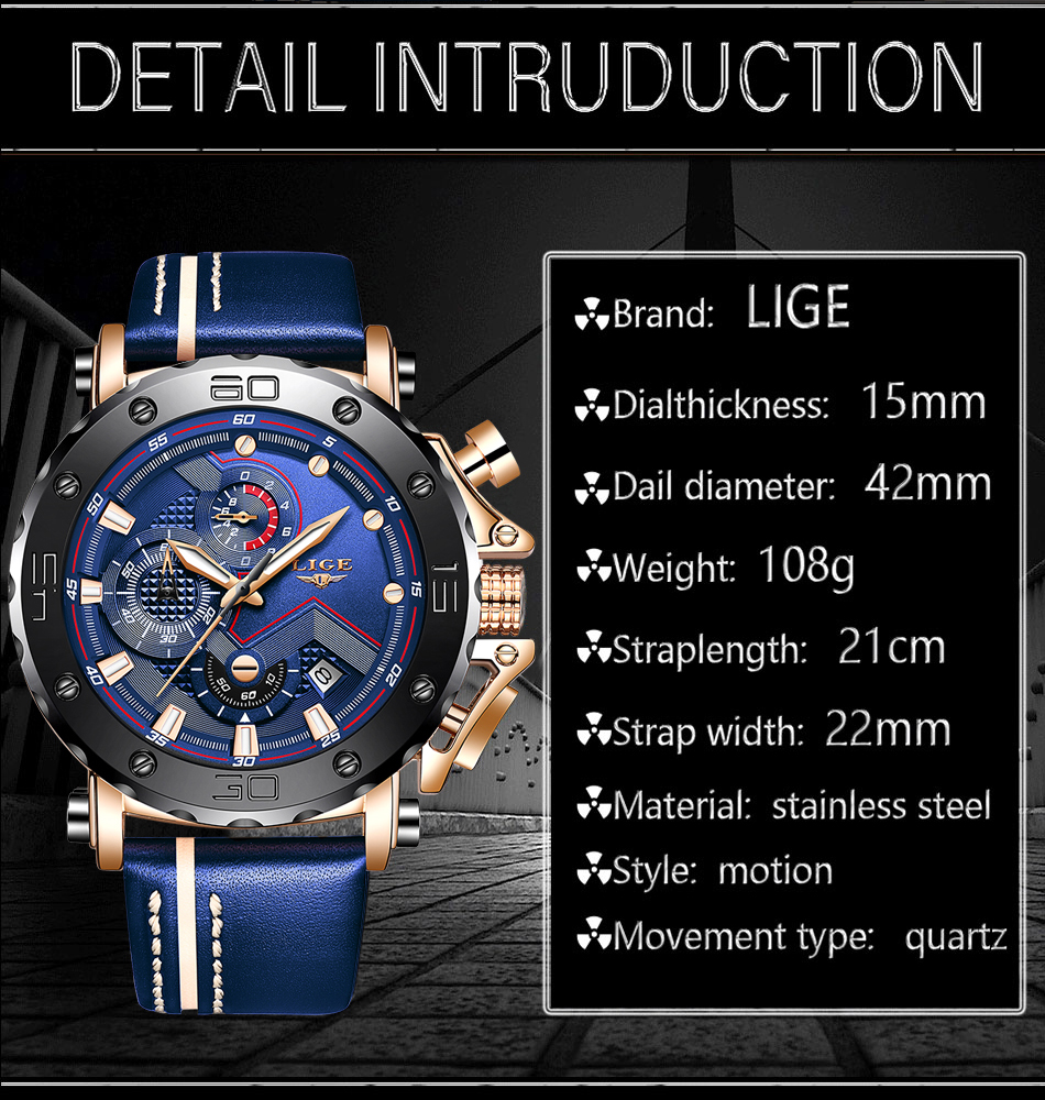 H009dafc36edf4f21a0de755b53a57de0d New LIGE Mens Watches Top Brand Luxury Big Dial Military Quartz Watch Casual Leather Waterproof Sport Chronograph Watch Men
