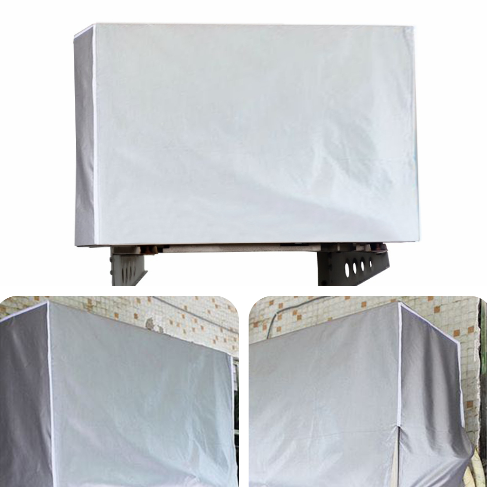 Outdoor Air Conditioner Cover Anti-dust Anti-snow Waterproof Sunproof Cleaning Cover Conditioner Protectors Polyester Coated