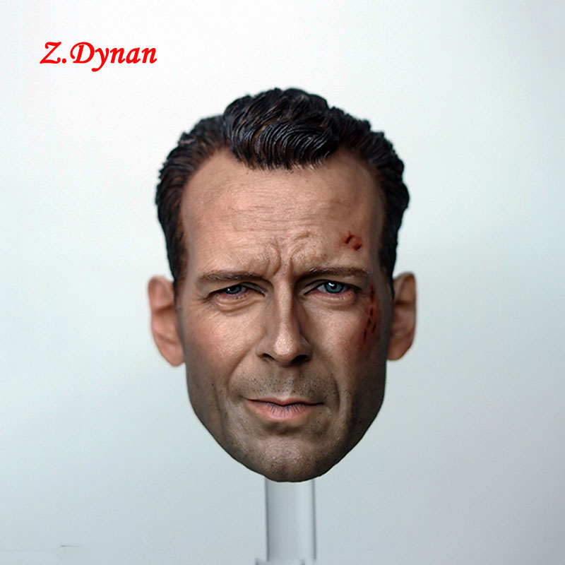 Z. Dynan Toys 1/6 масштаб голова Брюса Уиллиса лепим поврежденная версия для John Mcclane жесткая 12 дюймов Мужская фигурка