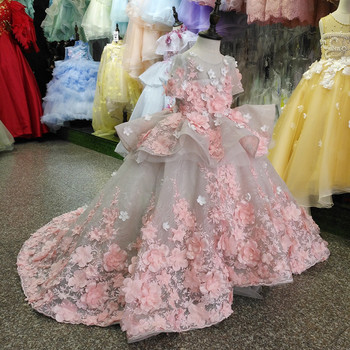 Real Picture New Flower Girls Dress Baby Girl Clothes Lace 3D Flowers Applique Puffy Tulle Kids Birthday Gown Custom Made - discount item  10% OFF Wedding Party Dress