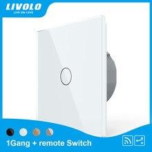 Livolo – applique murale tactile sans fil, 433.92MHz, 1gang, 2 voies, panneau en verre, commande à distance, 220-250V, Standard ue